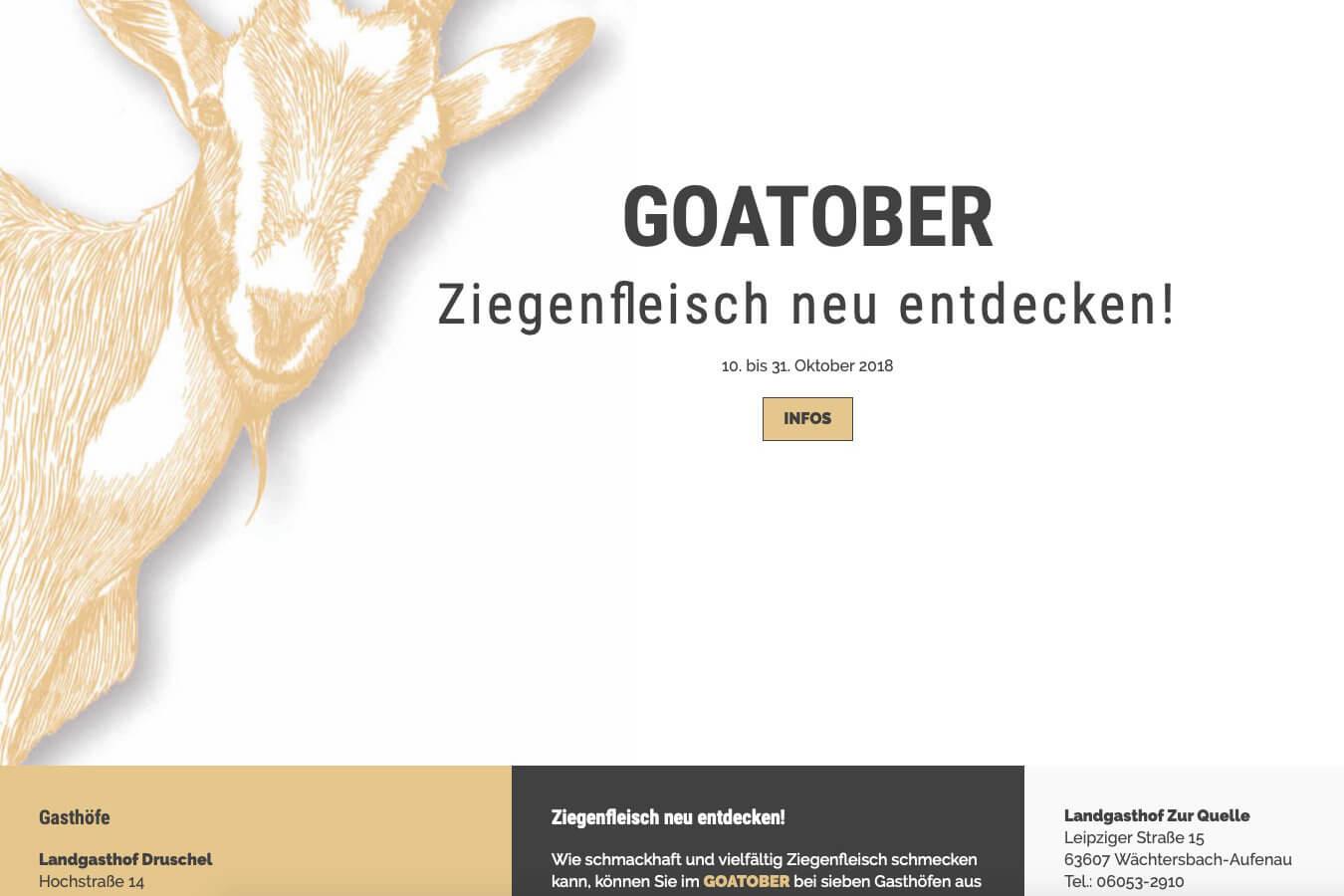 Goatober Homepage | Ein BLITZGEEK Webdesign Projekt