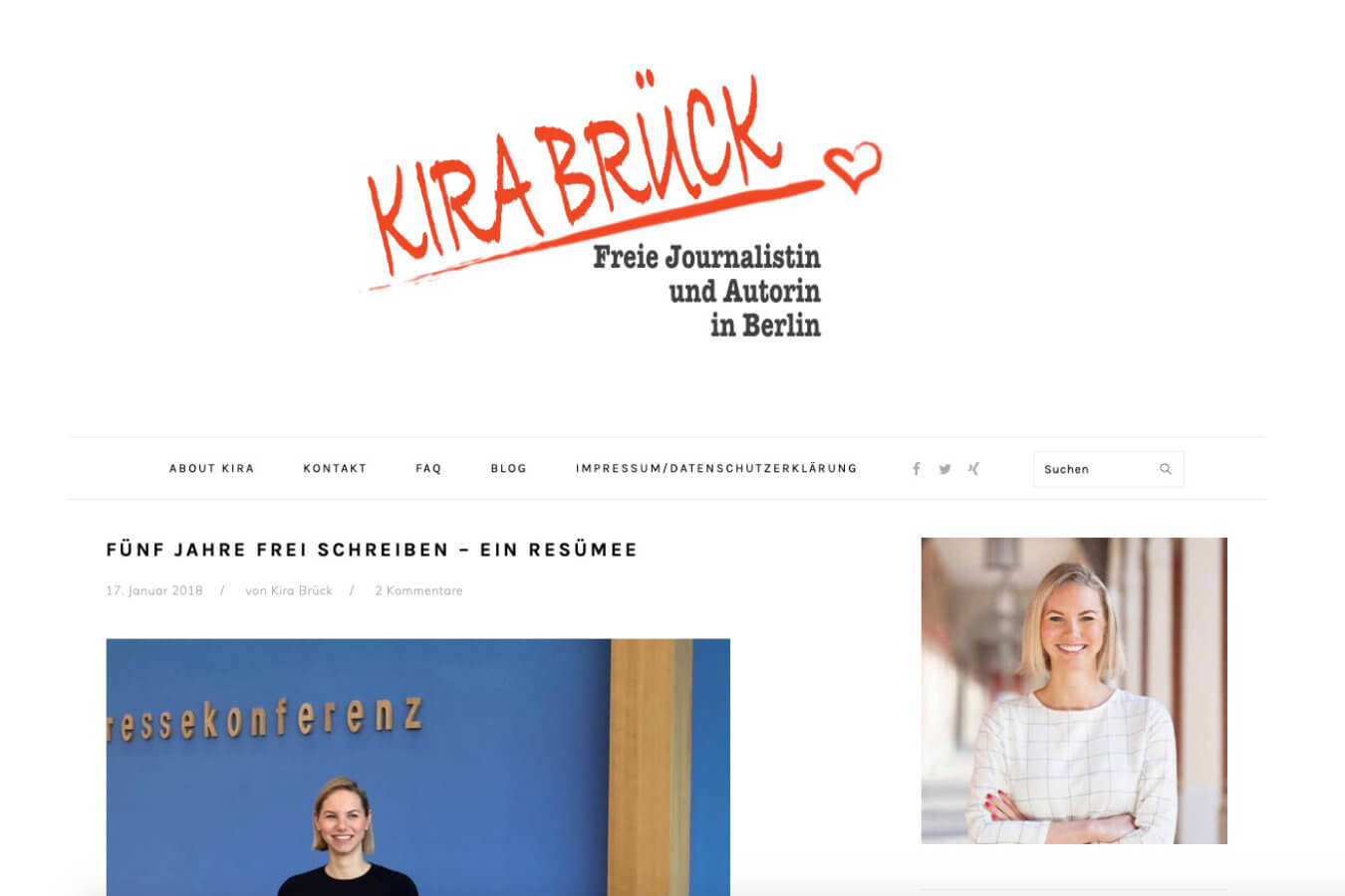 Kira Brück Homepage | Ein BLITZGEEK Webdesign Projekt