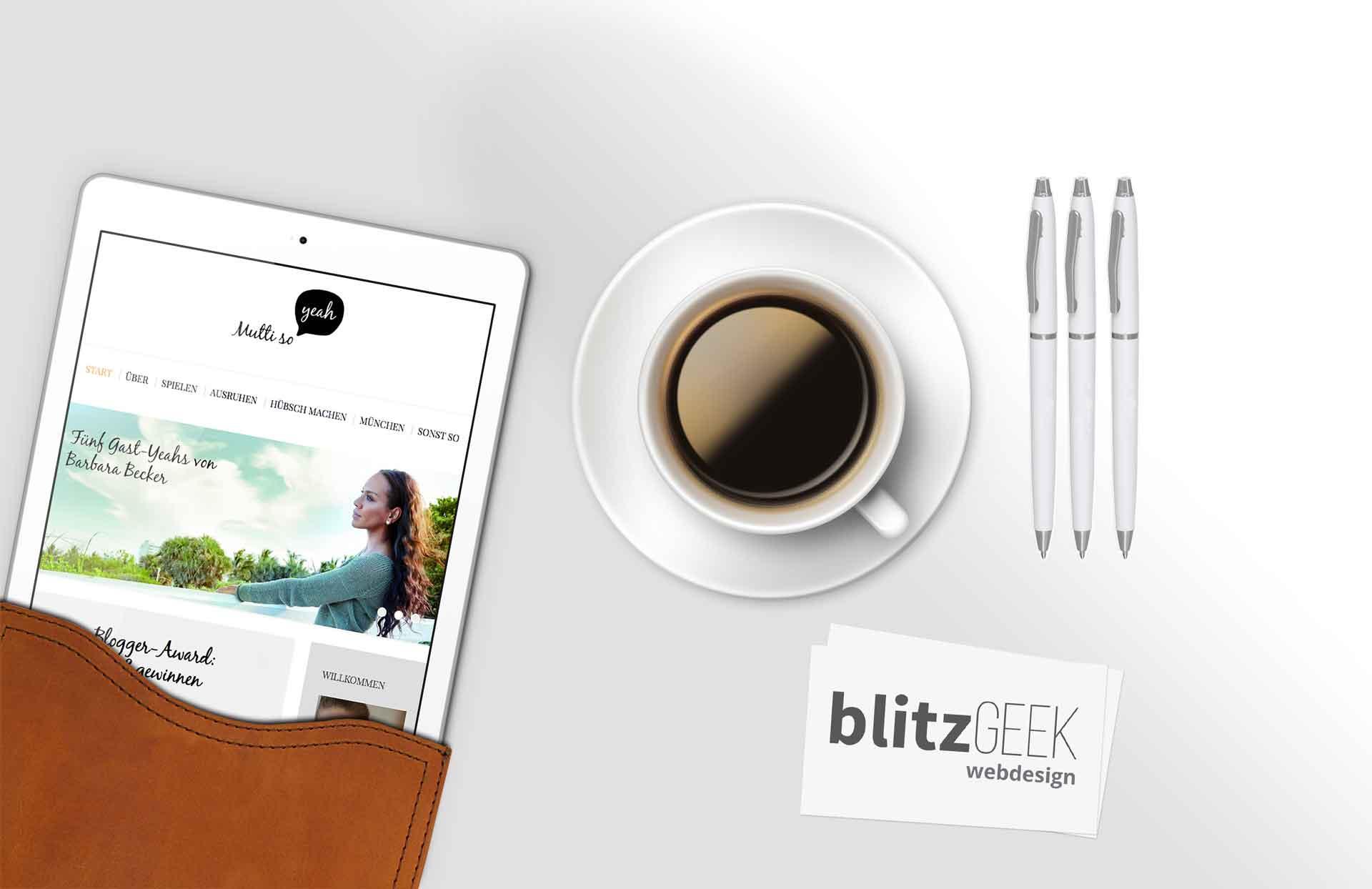iPad zeigt mutti so yeah webseite | Ein BLITZGEEK Webdesign Projekt