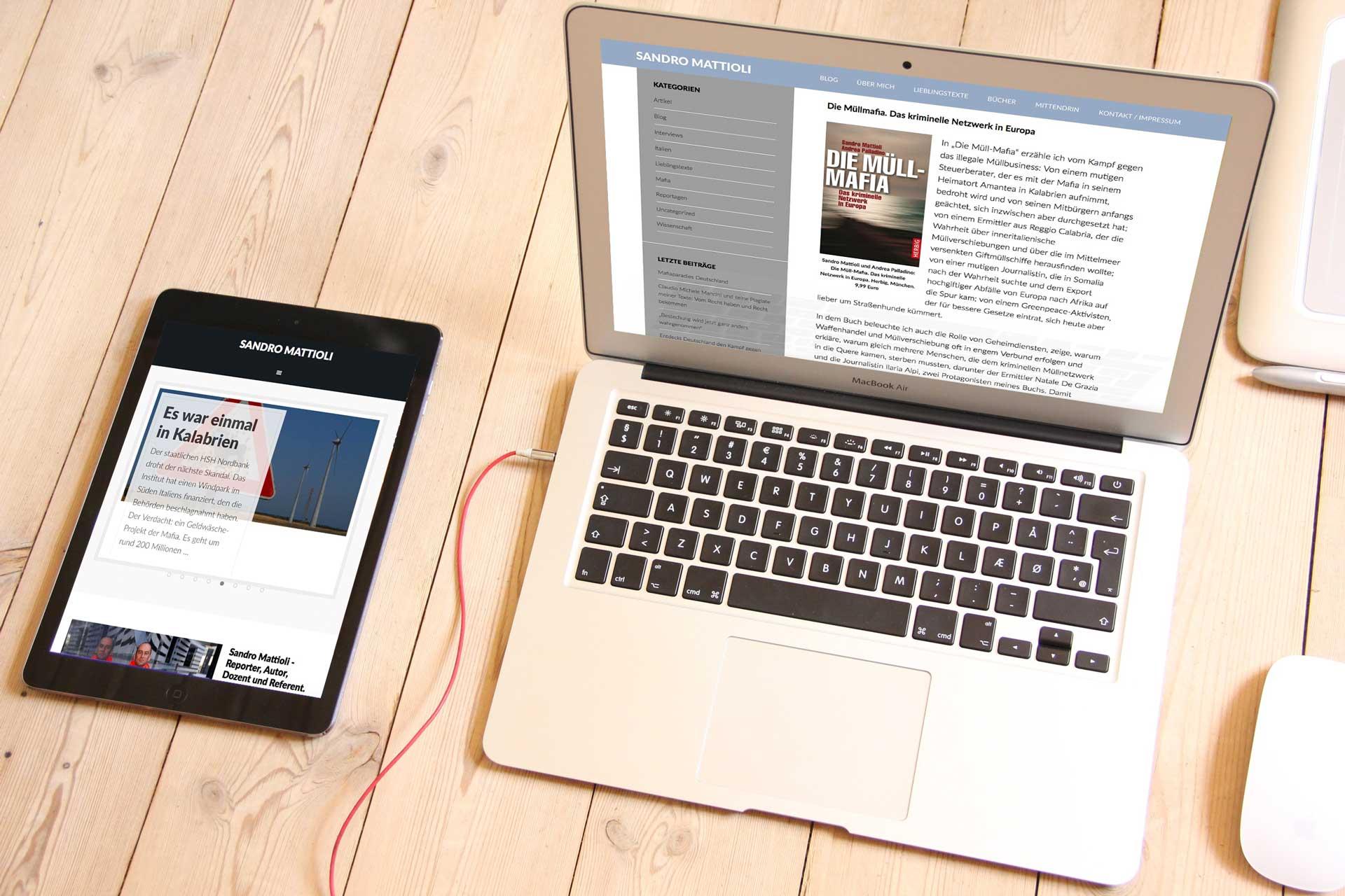 Sandro Mattioli Homepage | Ein BLITZGEEK Webdesign Projekt