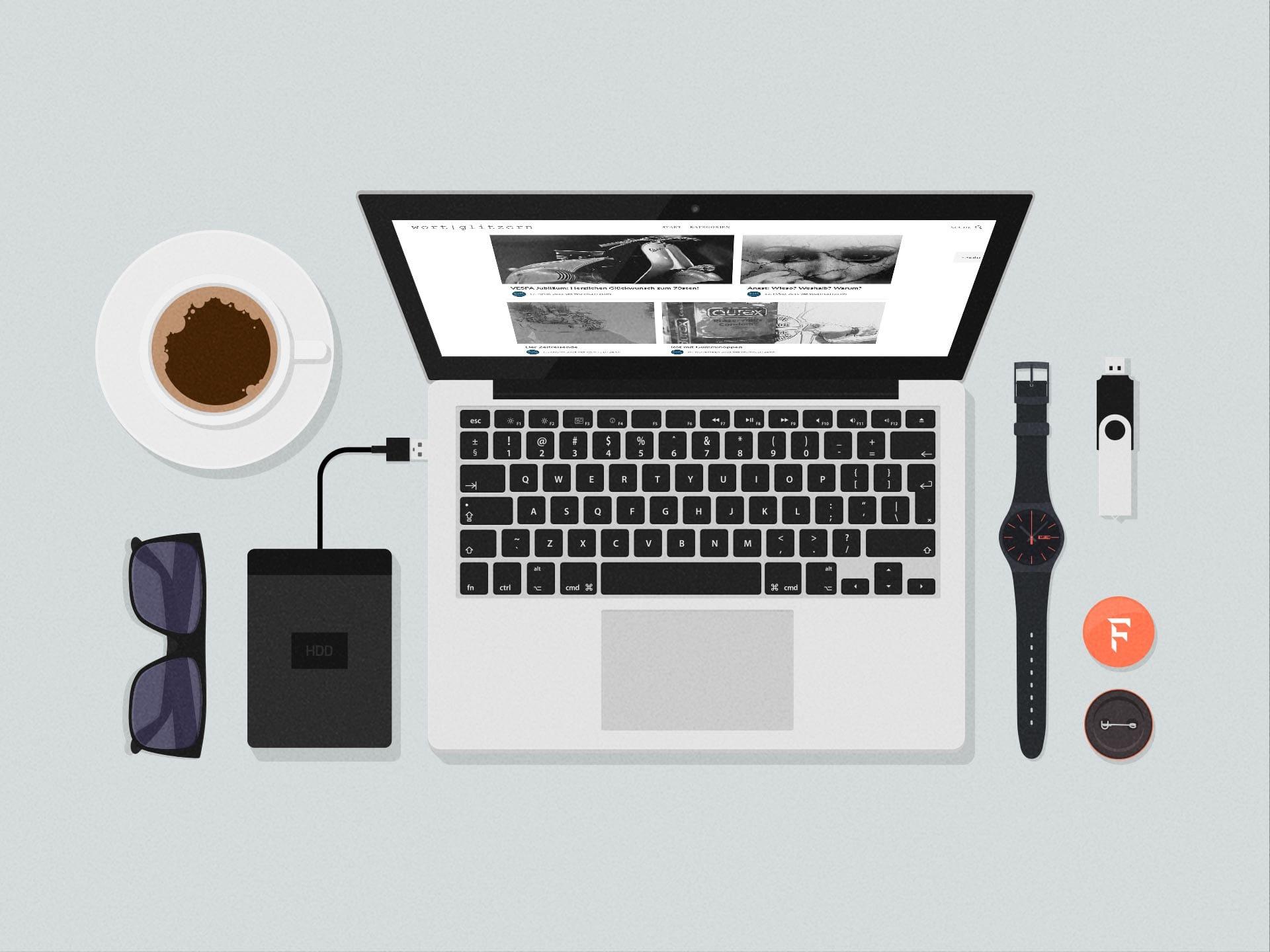 wortglitzern homepage auf laptop bildschirm